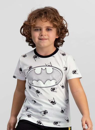 Batman Batman Lisanslı Lacivert Erkek Çocuk T-Shirt Krem